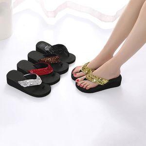 Women's Summer Sequins Anti-Slip Sandals Slipper Indoor & Outdoor Flip-flops Ladies Indoor Outdoor Sequins shoes Slipper