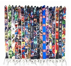 Wholeslae 100pcs superhéroe The Avengers correa de cuello de cuerdas de seguridad para llaves Placa de soporte de la cuerda llavero regalo tarjeta de identificación de la correa de gimnasia del teléfono móvil del USB