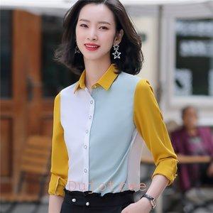 BS986 New Mulheres Blusa manga comprida Office Lady shirt da forma do contraste cor da costura Chiffon Ocupação Chiffon Top