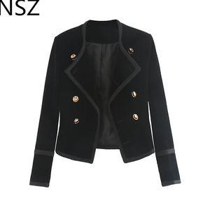 NSZ Donna Giacca corta in velluto nero Manica lunga Oro doppio petto Elegante cappotto corto Lavoro d'ufficio Capispalla per affari