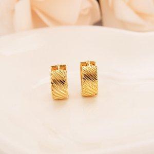 Amarillo al por mayor sólido Fine Gold Filled lujo pendiente sencillos pendientes de oro