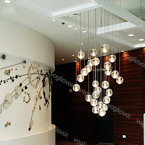 Pendant Light G4 LED en cristal de boule en verre avec Bubble Meteor pluie Ceiling Light météorique droplight pour l'intérieur Salon Douche Escalier Bar DHL