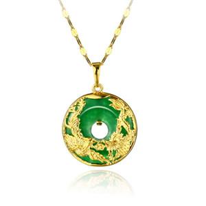 Kadın Erkek kolye Zinciri Moda Takı Mevcut Dolgulu Dragon Phoenix Desen Jade Nefis 18k Sarı Altın