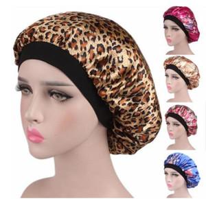 Las nuevas mujeres de raso forrado Sleep Cap Noche pelo capó sombrero de copa gorros de ducha cubierta de la cabeza ancha Banda Elástica