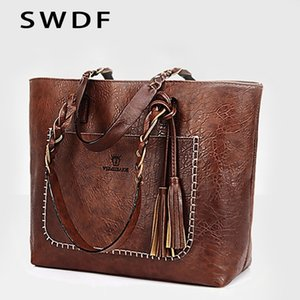 SWDF 2019 Nova Mulheres Tassel Bolsa de luxo Oil Bolsa Feminina Designer Knitting ombro bolsa de couro Bolsas Ladies SAC A principal Bags V191209