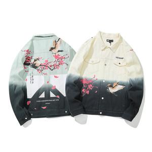 Mens Outono Azul Denim Jackets japonês Rua Birdie flor de ameixa Graffiti Jeans Brasão Hip Hop Streetwear Jeans Coats Outwear