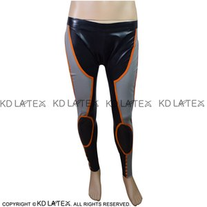 Black With Silver And Orange Trims Sexy Latex Leggings Rubber Pants Trousers Plus Size 0001