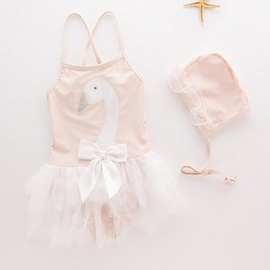 Summer Baby Girls Swimsuit Infant Toddler Kids Childrens Swan Swimwear+Hat 2pcs Set Spa Beach Bathing Clothing Costume 5sets lot