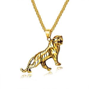 El nuevo diseñador de moda de lujo hip hop joyería de roca fresca de titanio de acero handsom tigre animal colgante de collar para los hombres