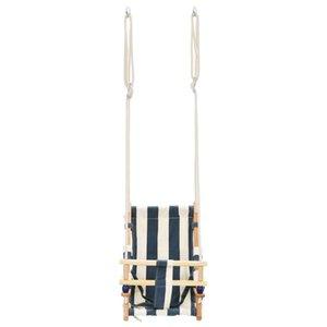 Детские качели с хлопчатобумажным ремнем безопасности деревянная детская мебель качалки Великобритания склад Бесплатная доставка полоса синий белый