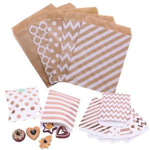 Borse 25pcs Rosa Oro Argento carta kraft per i regali del biscotto Biscotti Candy Bag Packaging Christma Wedding Birthday Party Decor