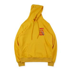 Мужские толстовки для толстовок Мужская дизайнерская буква Печать хлопка Уличная одежда Шея HIP HIP HOP желтый для