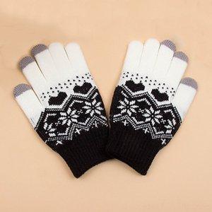 Frauen Strickfäustlinge Hüte, Schals Glovested Handschuhe Magic Touch Screen-Handschuhe Herren Weibliche Stretch Strickfäustlinge Winter Herbst Schneeflocke glov
