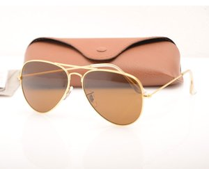 High Quality Brand Designer sun glasses mirror sunglasses Fashion womens sunglasses Mens sunglasses pilot classic sun glasses with Brown box