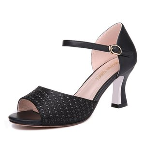 Women's Rivet Shoes Buckle Heel Height 7.3CM Buckle Strap Girl's Sandals Size EUR35-39 Model 70189