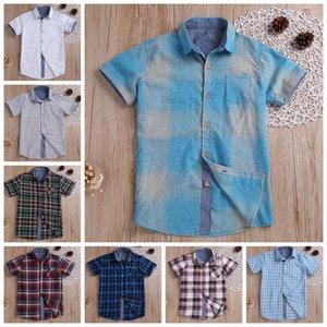 아기 소년 옷 격자 무늬 아이 T 셔츠 짧은 소매 아이들 티 Casual Lattice Boys 정상 여름 키즈 의류 8 디자인 YW3240