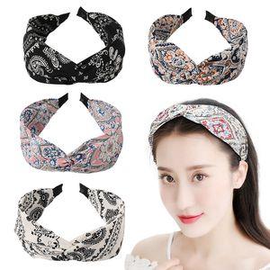 Acessórios de cabelo Headwrap pano cabelo Hoop Mulheres Headband Caju Imprimir cabeça larga Hoop Tie-dye Gradiente Cruz Knot