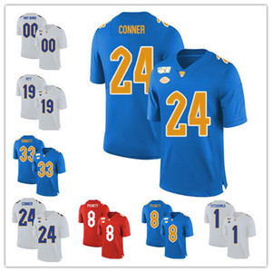 Personalizada NCAA Pittsburgh Panthers Jersey Qualquer Nome Número Pitt 24 CONNER 97 Aaron Donald 12 P.Ford PITT 25 Darrelle Revis Azul Branco