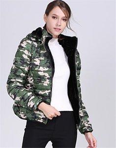 Camuflagem Womens de designers algodão acolchoados Jaquetas Moda slim Pockets Womens capuz Painéis Cotton Coats Casual fêmeas roupa