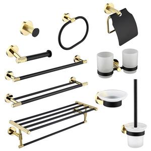 Banheiro Hardware Set Preto Robe toalha ouro gancho Rail Bar cremalheira da barra Anel Shelf Tissue Latão suporte de papel porta-escovas escova