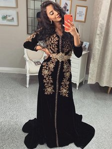 Black Velvet Long Sleeve Muslim Prom Dresses Sexy Cheap Elegant Evening Gowns Beaded Lace Applique paolo sebastian Vestidos De Fiesta