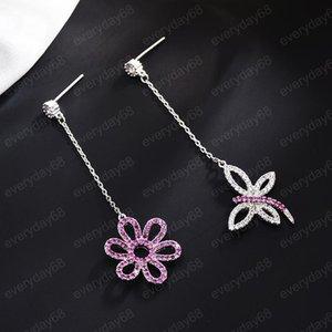 Bling Cubic Zirconia Tassel Earrings For Female Long Stud Earring 925 Silver Butterfly Flower Asymmetry Earrings Women Brand Jewelry