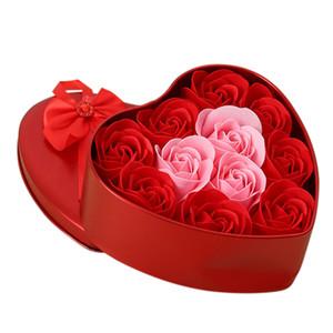 11pcs / коробка Искусственные цветы розы мыло цветка формы сердца Diy Свадебные украшения для Сувенирная День Святого Валентина Подарки Flore-красный