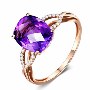 Fashion purple crystal amethyst gemstones diamonds rings for women rose gold tone jewelry bijoux bague date party gift accessory