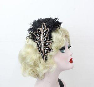 Preto Feather Headband grampo de cabelo Feather Acessórios de cabelo Faixa de Cabelo Peacock