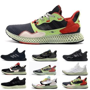 Triplo preto e branco Mens ZX 4000 Futurecraft 4D Running Shoes Formadores para homens ZX4000 carbono Instrutor masculino Sports Sneakers 40-45