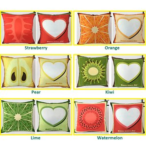 43*43cm DIY Sublimation Pillowcase Creative Thermal Transfer Fruit Series Pillow Case Colorful Satin Cushion Cover without Inner A09