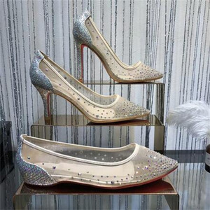 عالية الجودة موضة جديدة مثير النساء مضخات اللمحة تو كريستال إبزيم الشريط حزب أحذية الزفاف الذهبي الهواء مش انظر من خلال حزام الكاحل