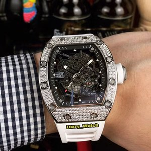 Best version RM 035 AMERICA5 NADAL Silvery Diamonds Case Skeleton Dial Japan NH Automatic RM035 Mens Watch Sapphire Rubber Designer Watches
