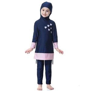 Çocuklar Kız Müslüman Mayo Arap İslam Uzun Kollu İki Parça Hoodie Mayo
