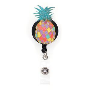10pcs lot Free Shipping Colorful enamel Fruit Style pineapple badge holder Retractable Nurse id badge reel
