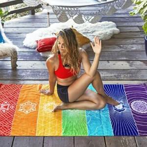70 * 150CM البوليستر شاطئ منشفة غطاء للجنسين اليوغا منشفة لون قوس قزح البوهيمي شاطئ منشفة شاطئ شال CCA11125 20PCS