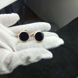 Les nouveaux hommes en acier inoxydable classiques cufflink avec pierre bleue bling modèle ciel de haute qualité pour le cadeau des hommes d'affaires de mari avec boîte