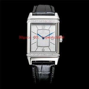 Top Diamante Diccionario Q2788520 reloj ocasional del reloj mecánico automático suizo 21600 VPH cristal de zafiro de la correa de cuero de acero inoxidable 316L