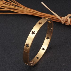 316L Stainless Steel Woman Bangle&Bracelets Hollow Out Star Gold Plating Bangle Female Fashion Rose Gold BandWrist Jewelry