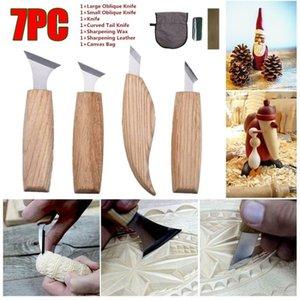 7PCS Grabado Cuchillo Cuchillos escultura de la mano herramientas del arte Las cuchillas de bisturí Craft antideslizante de talla de madera de metal DIY Kit de herramientas de carpintería