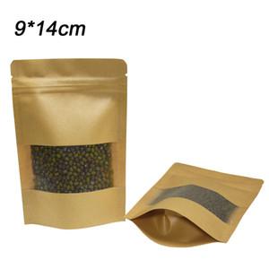 9 * 14 см пустой встать крафт-бумаги пакет сумки закрывающиеся молния топ еда кофе Снэк-Бин хранения бумажный мешок с прозрачным окном 50 шт. / лот