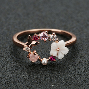 Women Bohemian Rings Ethnic Style Butterfly Flower Rose Gold Ring Creative Simple Geometric Rings Fashion Jewelry