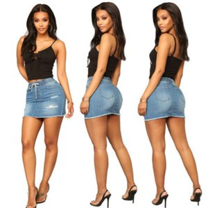 Womens Designer Hipskirt femelles Luxe Shredded Slim Denim Jupe taille haute hanche jambe large Hot Pants Sexy Marque Fashion 2020 Summer Nouveau