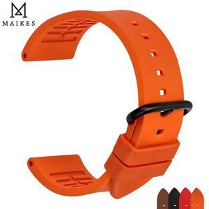 Maikes Turuncu Spor Watch Band 20mm 22mm 24mm İzle Aksesuarları Watchband Siyah Toka Ile Omega Y19052301 Için Kauçuk Saat Kayışı