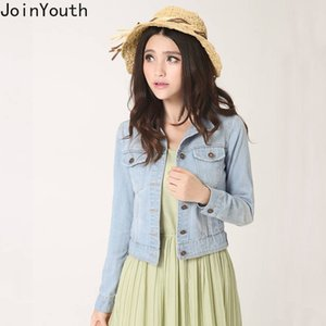 JoinYouth Solid Single Breasted Denim Jacket Outwear Otoño 2019 Mujeres Moda Chaqueta Mujer Turn-down Collar Ropa J017