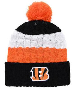 cappello all'ingrosso Cincinnati Berretti Beanie di inverno donne degli uomini di alta qualità Calotta Pomp Skullies Script Cuffed Knit Hat con Pom