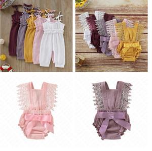 Bebé bonito macacãozinho recém-nascidos roupa do bebê da criança alargamento Sleeve Sólidos Lace Designer Romper Jumpsuit respirável One-Pieces Onesie D62804