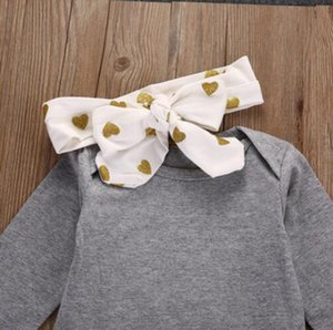 Selling Children's Clothing Girls Set Infants And Young Children Cotton Long-Sleeve Romper Bronze Lovely Pants Hair Bands 3pcs S