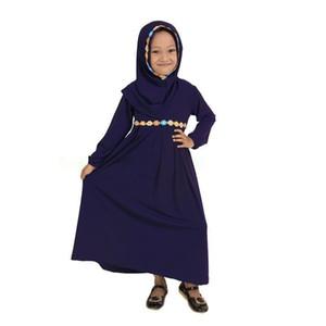 Этническая одежда Детская абая девочек платье мусульманский кафтан Дубай зеленый с длинным рукавом Hijab халат арабс исламская 1-5 лет халаты