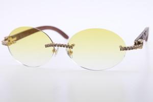 الجملة الحجارة الكبيرة النظارات الشمسية الساخنة منحوتة الخشب 3524012 نظارات شمسية بدون شفة جولة للجنسين مصمم الماس النظارات الخشبية عدسة البيضاوي